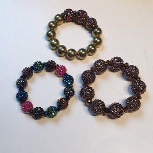 Crystal Beads MultiColored Bracelets Set of 3